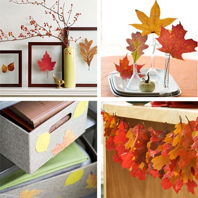 Украшение дома осенними листьями